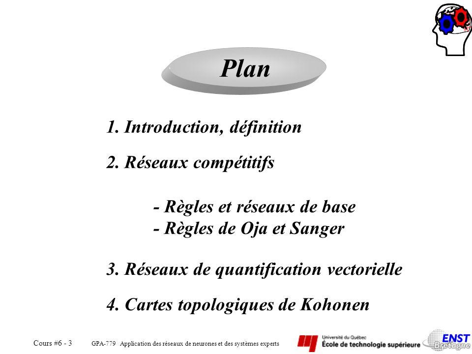 GPA-779 Application des réseaux de neurones et des systèmes experts Cours #6 - 3 Plan 1. Introduction, définition 2. Réseaux compétitifs - Règles et r