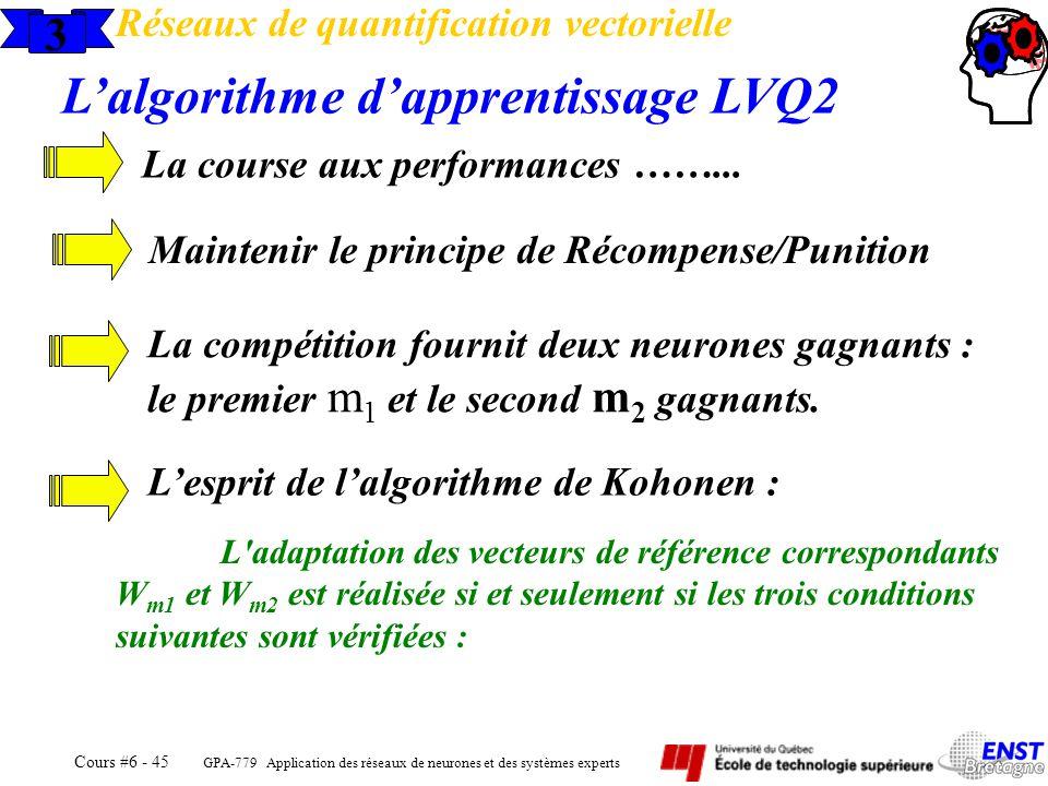 GPA-779 Application des réseaux de neurones et des systèmes experts Cours #6 - 45 3 Réseaux de quantification vectorielle Lalgorithme dapprentissage L