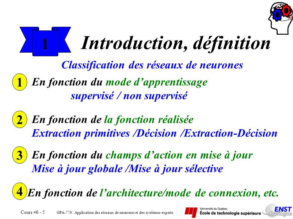 GPA-779 Application des réseaux de neurones et des systèmes experts Cours #6 - 5 1 Introduction, définition Classification des réseaux de neurones 1 E