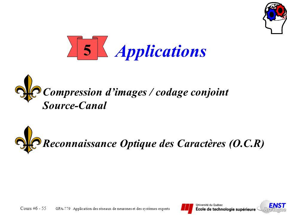 GPA-779 Application des réseaux de neurones et des systèmes experts Cours #6 - 55 5 Applications Reconnaissance Optique des Caractères (O.C.R) Compres