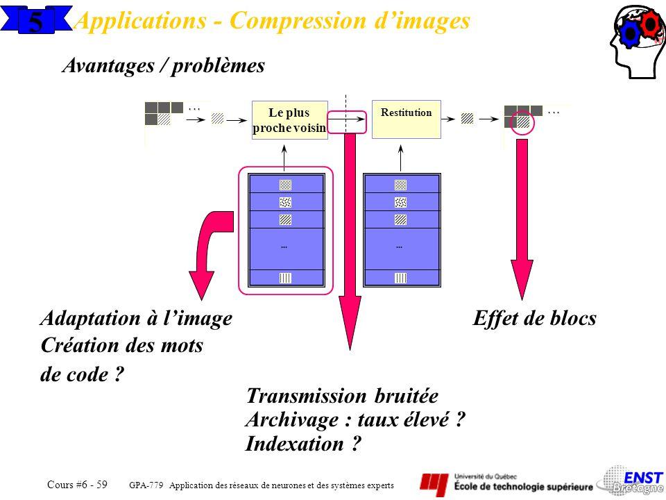 GPA-779 Application des réseaux de neurones et des systèmes experts Cours #6 - 59 5 Applications - Compression dimages Avantages / problèmes Le plus p