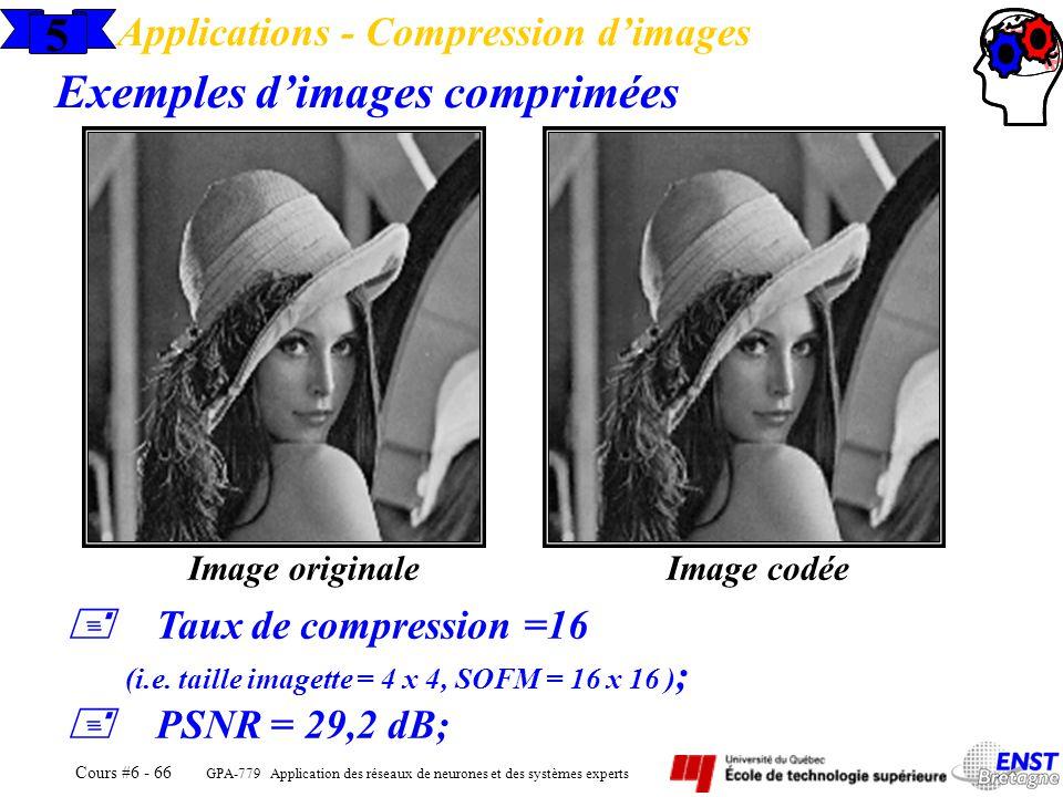 GPA-779 Application des réseaux de neurones et des systèmes experts Cours #6 - 66 5 Applications - Compression dimages Exemples dimages comprimées Ima