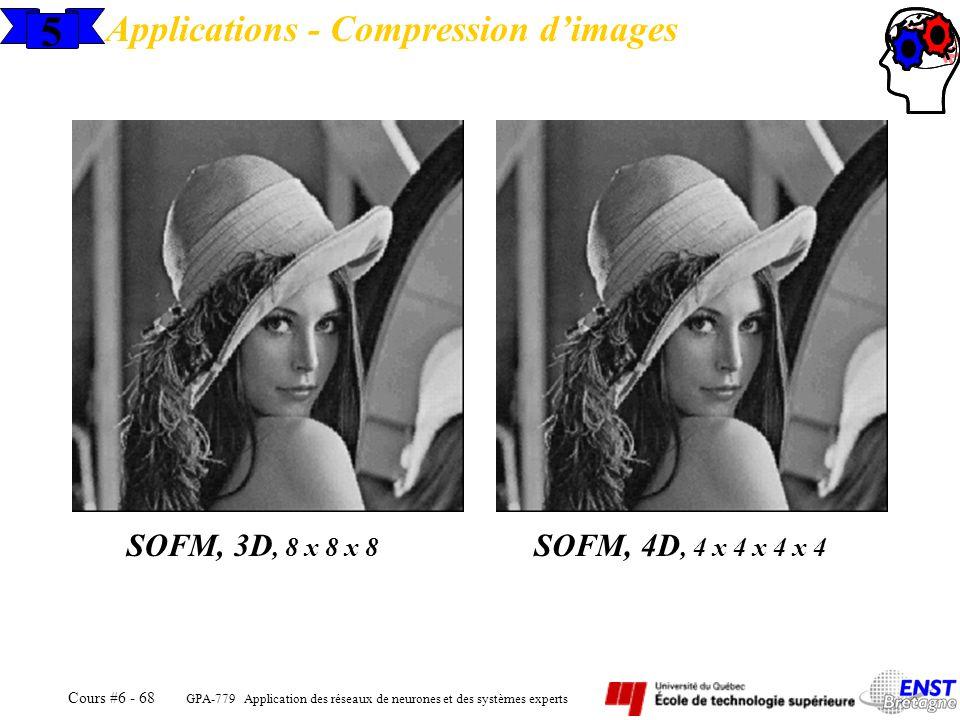 GPA-779 Application des réseaux de neurones et des systèmes experts Cours #6 - 68 5 Applications - Compression dimages SOFM, 3D, 8 x 8 x 8 SOFM, 4D, 4