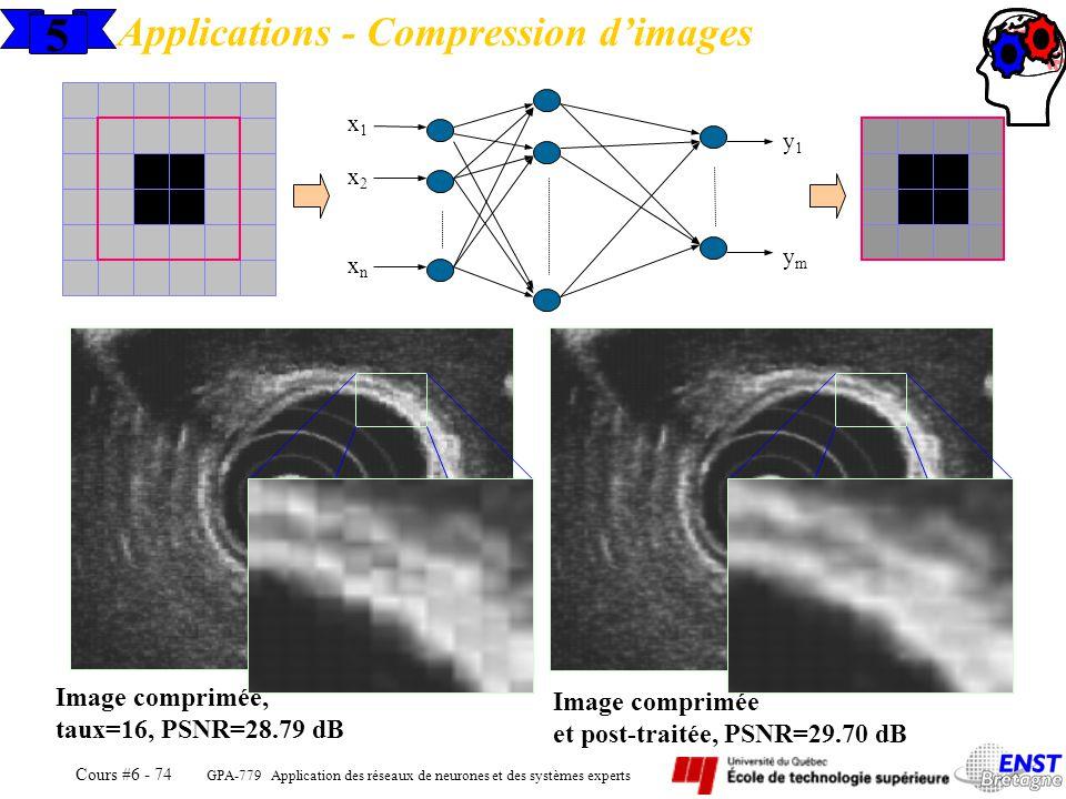 GPA-779 Application des réseaux de neurones et des systèmes experts Cours #6 - 74 5 Applications - Compression dimages x1x1 x2x2 xnxn y1y1 ymym Image