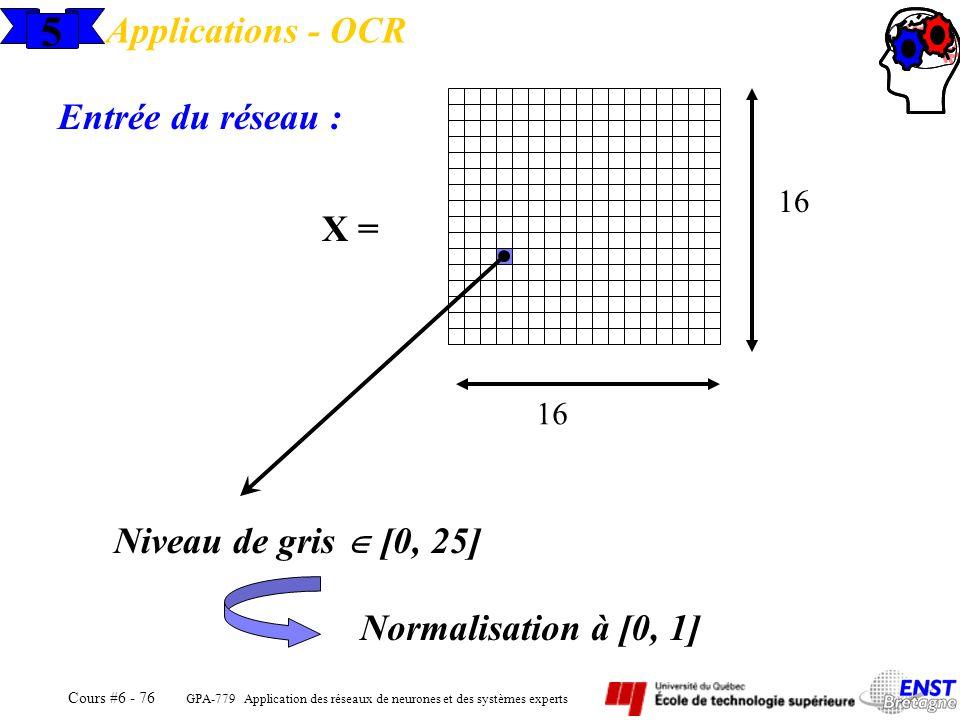 GPA-779 Application des réseaux de neurones et des systèmes experts Cours #6 - 76 5 Applications - OCR Entrée du réseau : X = 16 Niveau de gris [0, 25