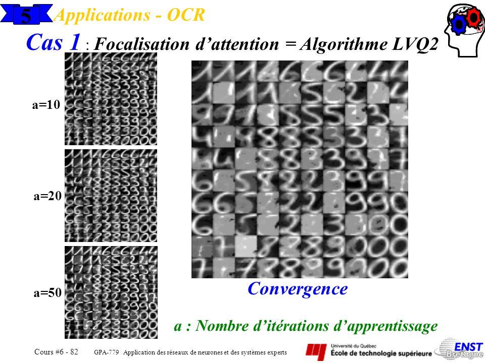 GPA-779 Application des réseaux de neurones et des systèmes experts Cours #6 - 82 5 Applications - OCR Cas 1 : Focalisation dattention = Algorithme LV