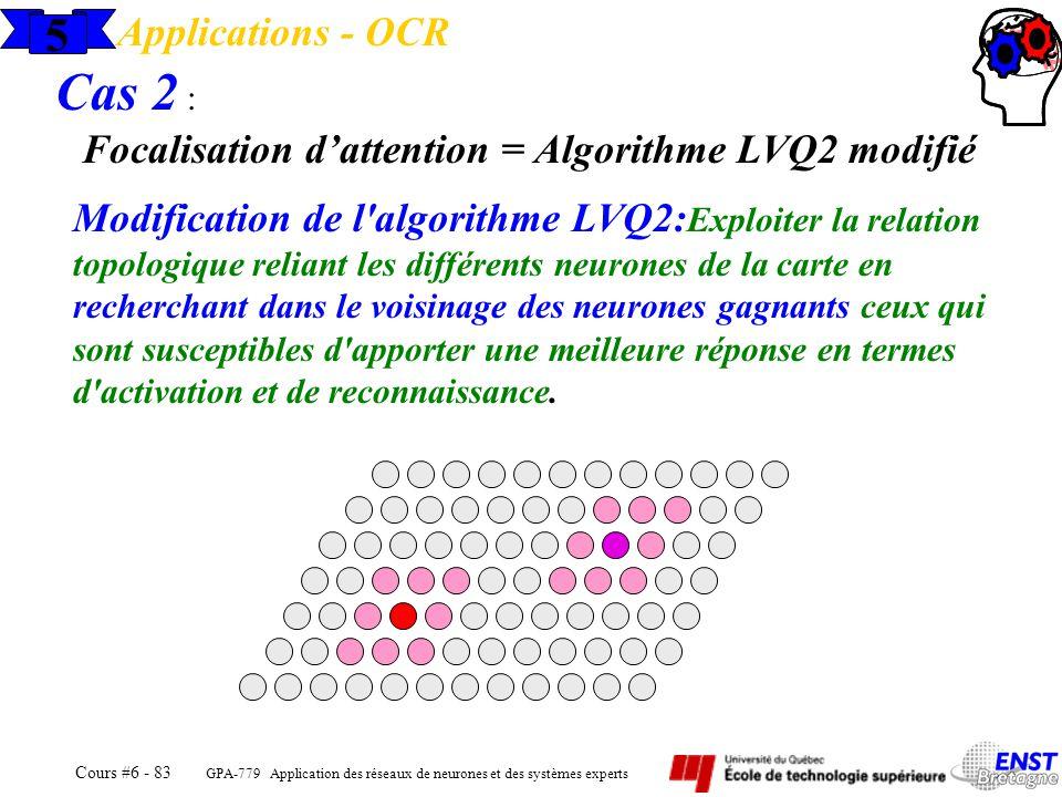 GPA-779 Application des réseaux de neurones et des systèmes experts Cours #6 - 83 5 Applications - OCR Modification de l'algorithme LVQ2: Exploiter la