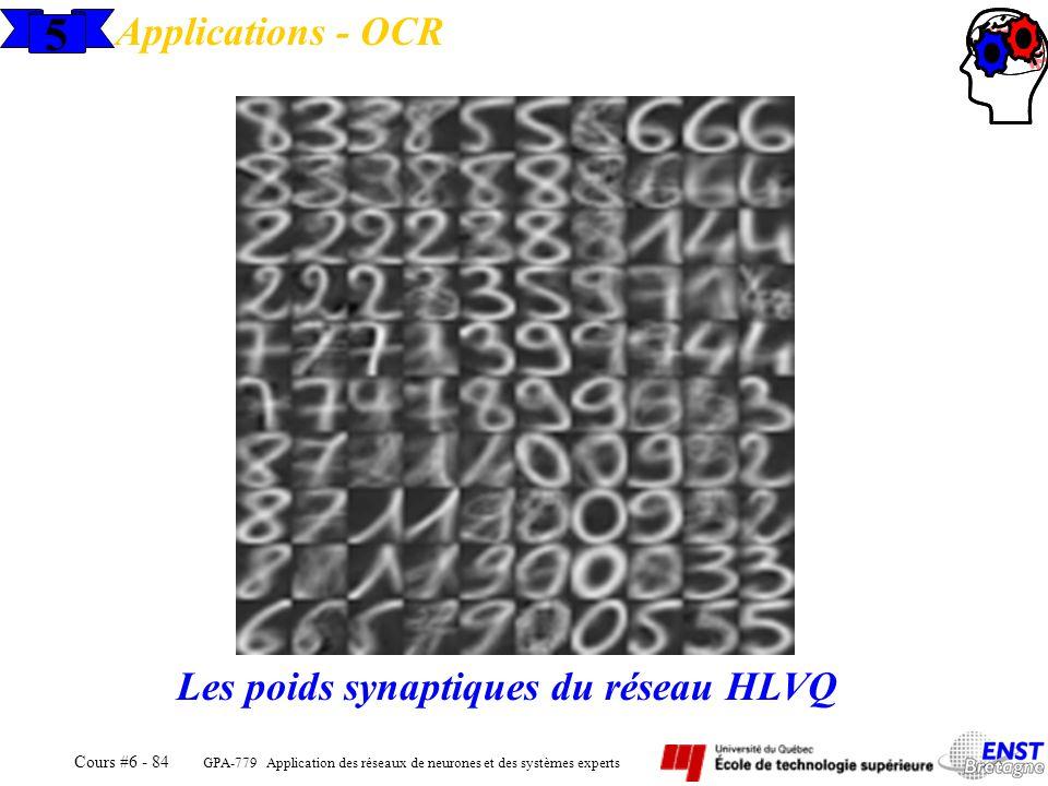 GPA-779 Application des réseaux de neurones et des systèmes experts Cours #6 - 84 5 Applications - OCR Les poids synaptiques du réseau HLVQ