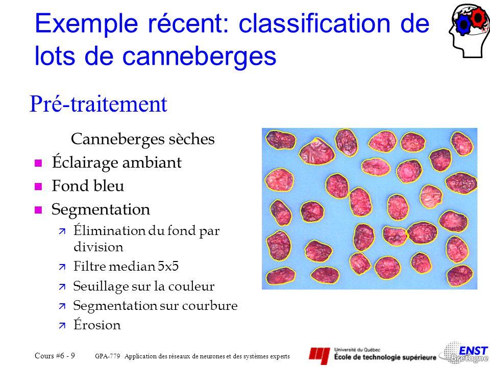 GPA-779 Application des réseaux de neurones et des systèmes experts Cours #6 - 9 Exemple récent: classification de lots de canneberges Canneberges sèc