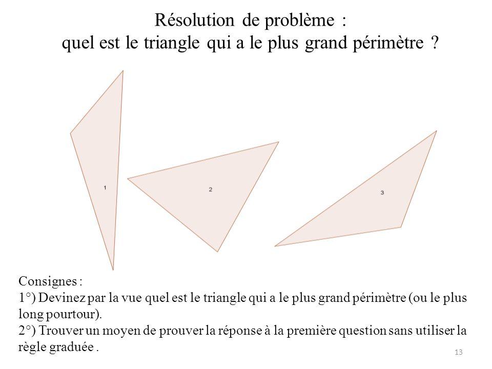 Résolution de problème : quel est le triangle qui a le plus grand périmètre .