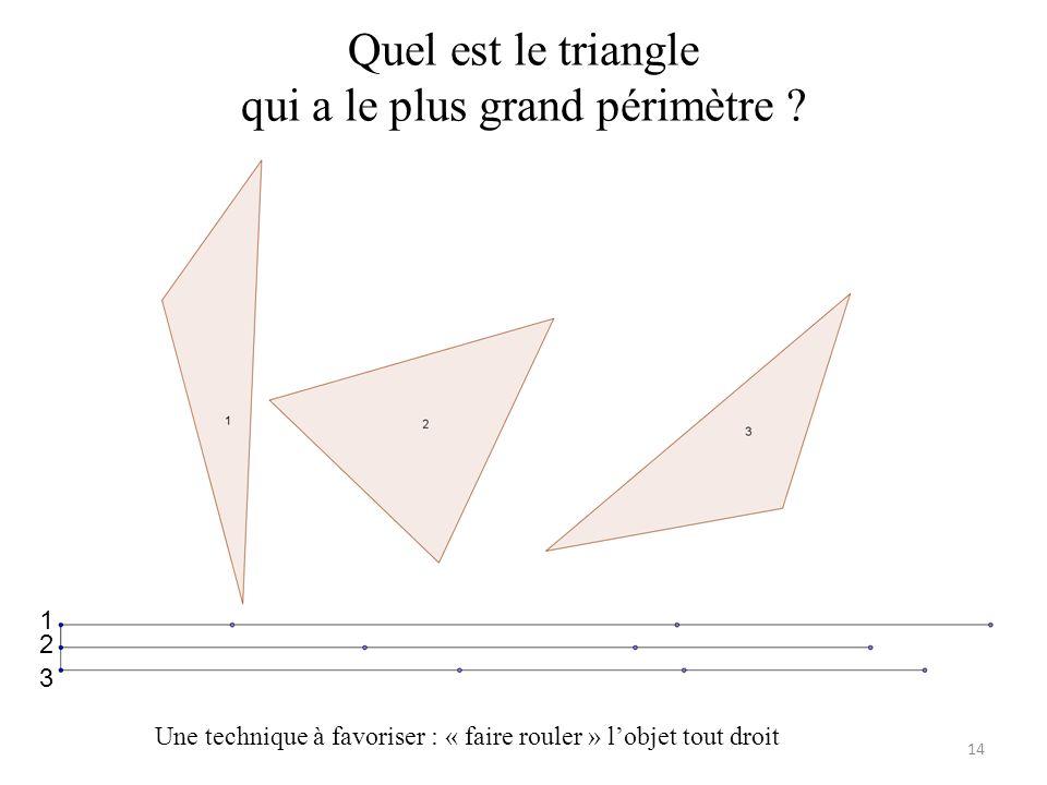 Quel est le triangle qui a le plus grand périmètre .