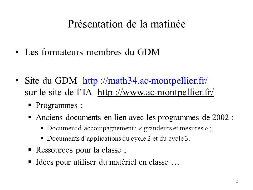 Présentation de la matinée Les formateurs membres du GDM Site du GDM http ://math34.ac-montpellier.fr/ sur le site de lIA http ://www.ac-montpellier.fr/http ://math34.ac-montpellier.fr/ Programmes ; Anciens documents en lien avec les programmes de 2002 : Document daccompagnement : « grandeurs et mesures » ; Documents dapplications du cycle 2 et du cycle 3.