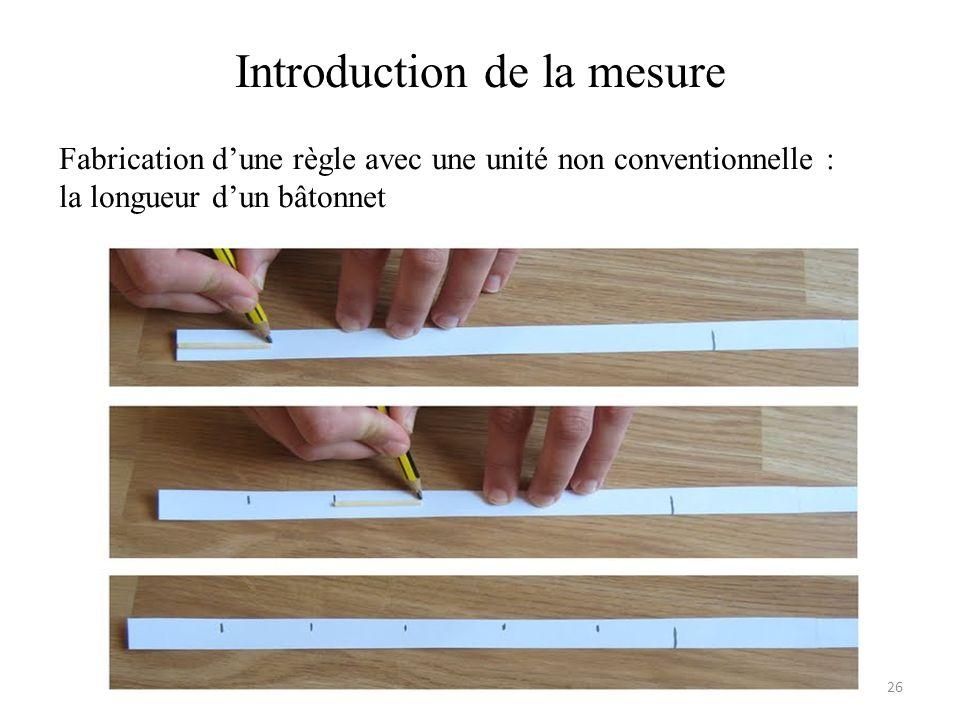 Introduction de la mesure Fabrication dune règle avec une unité non conventionnelle : la longueur dun bâtonnet 26
