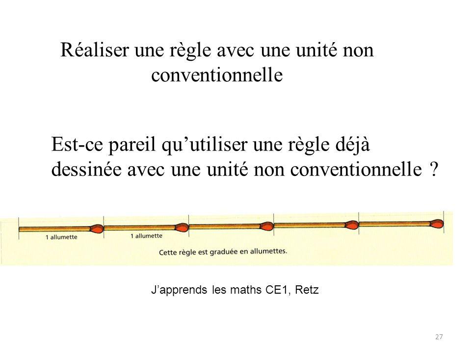 Réaliser une règle avec une unité non conventionnelle 27 Japprends les maths CE1, Retz Est-ce pareil quutiliser une règle déjà dessinée avec une unité non conventionnelle ?