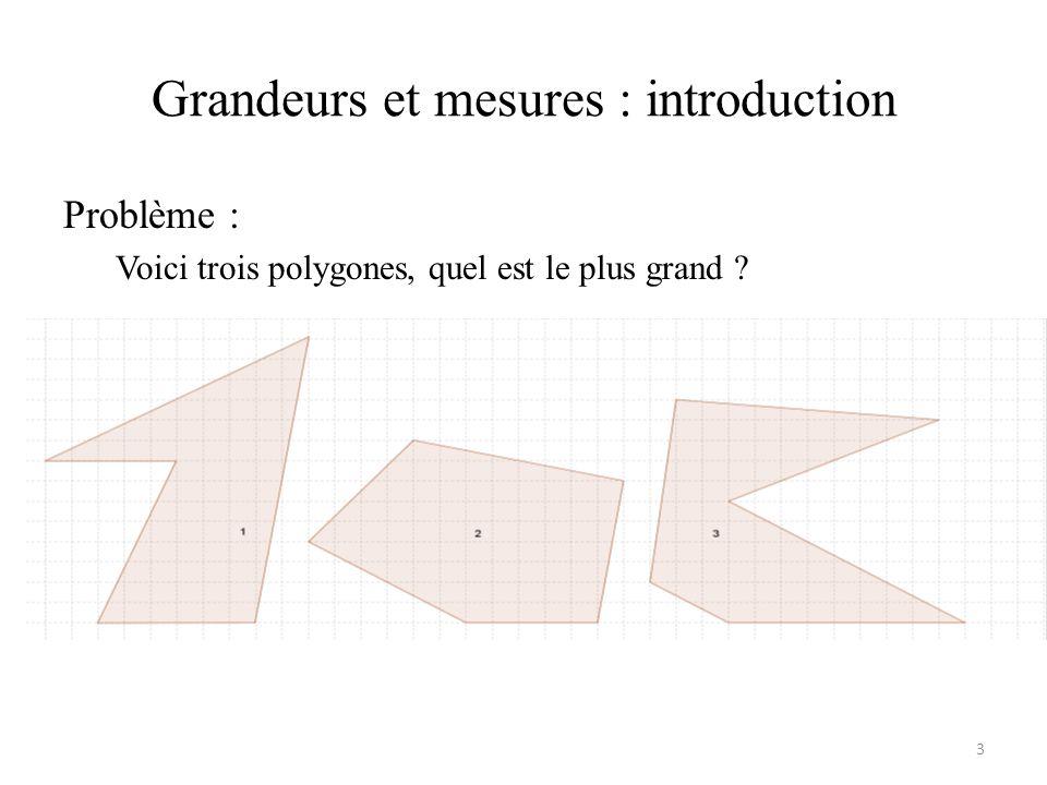 Grandeurs et mesures : introduction Problème : Voici trois polygones, quel est le plus grand ? 3