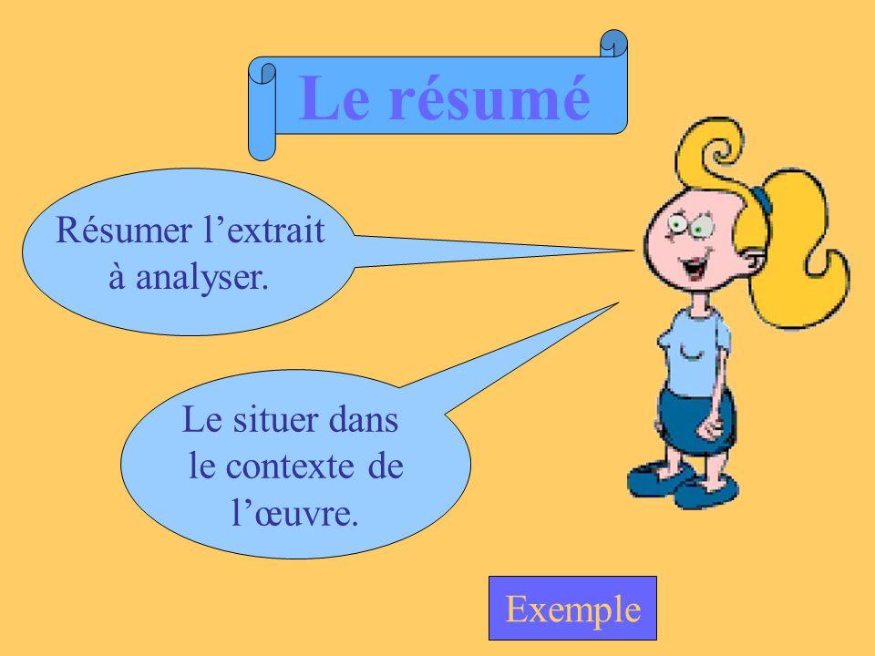 Le résumé Résumer lextrait à analyser. Le situer dans le contexte de lœuvre. Exemple