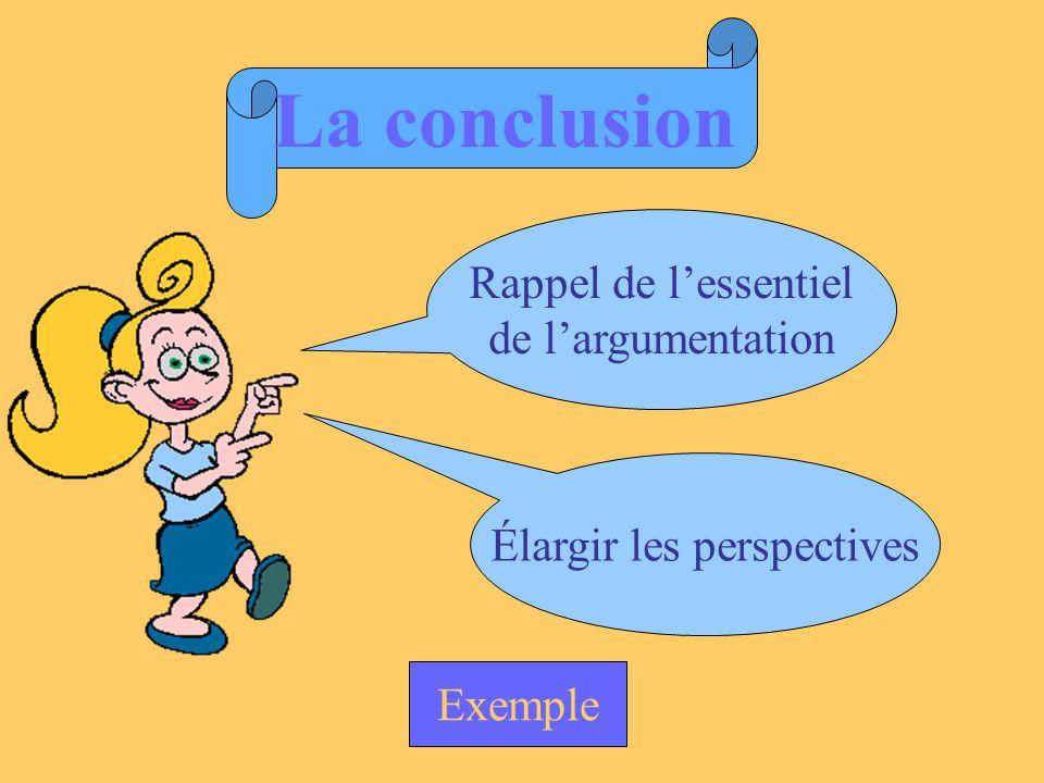 La conclusion Rappel de lessentiel de largumentation Élargir les perspectives Exemple