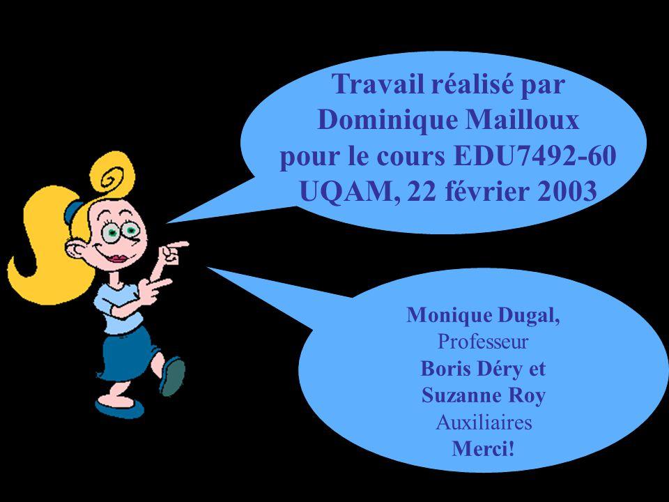Travail réalisé par Dominique Mailloux pour le cours EDU7492-60 UQAM, 22 février 2003 Monique Dugal, Professeur Boris Déry et Suzanne Roy Auxiliaires Merci!