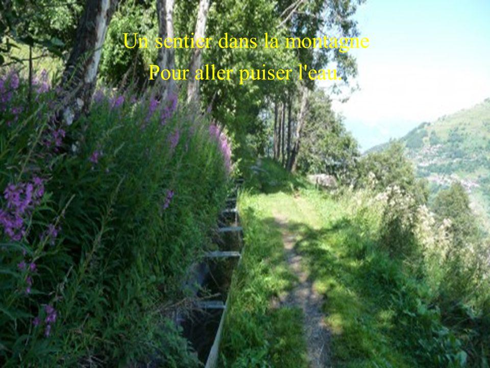 Un sentier dans la montagne Pour aller puiser l eau.