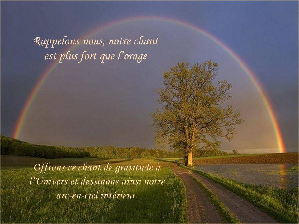 Offrons ce chant de gratitude à lUnivers et dessinons ainsi notre arc-en-ciel intérieur.