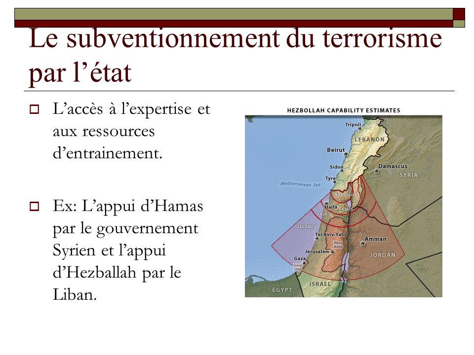 Le subventionnement du terrorisme par létat Laccès à lexpertise et aux ressources dentrainement. Ex: Lappui dHamas par le gouvernement Syrien et lappu