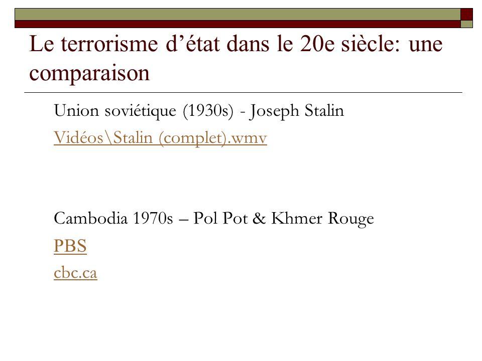 Le terrorisme détat dans le 20e siècle: une comparaison Union soviétique (1930s) - Joseph Stalin Vidéos\Stalin (complet).wmv Cambodia 1970s – Pol Pot