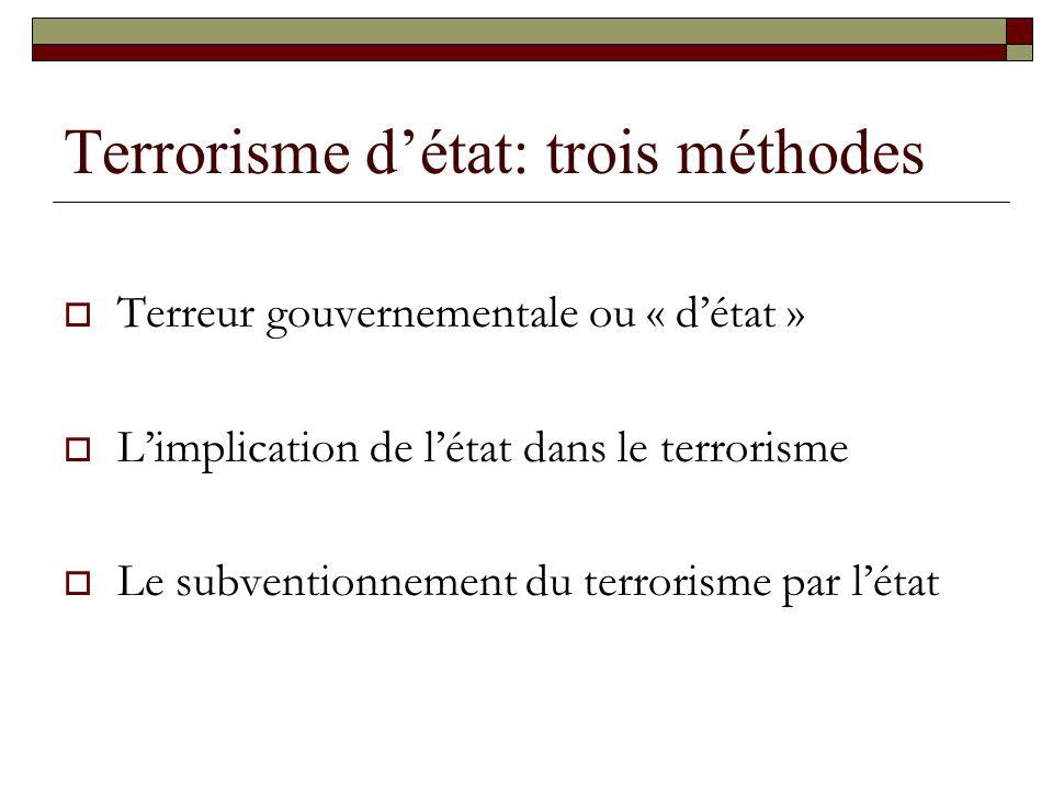 Terrorisme détat: trois méthodes Terreur gouvernementale ou « détat » Limplication de létat dans le terrorisme Le subventionnement du terrorisme par l