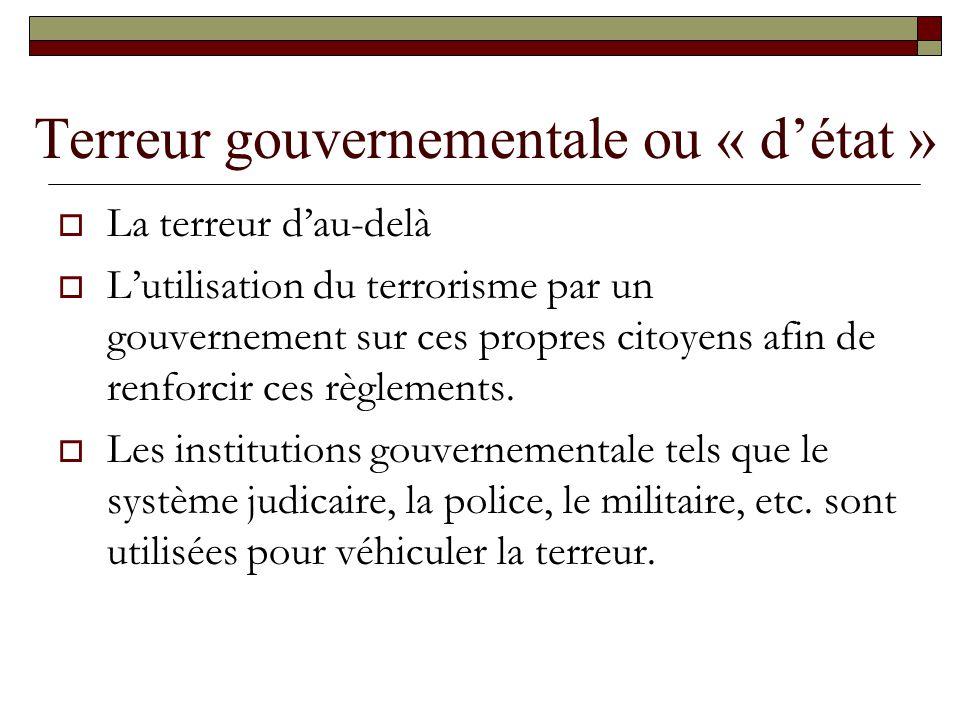 Terreur gouvernementale ou « détat » La terreur dau-delà Lutilisation du terrorisme par un gouvernement sur ces propres citoyens afin de renforcir ces