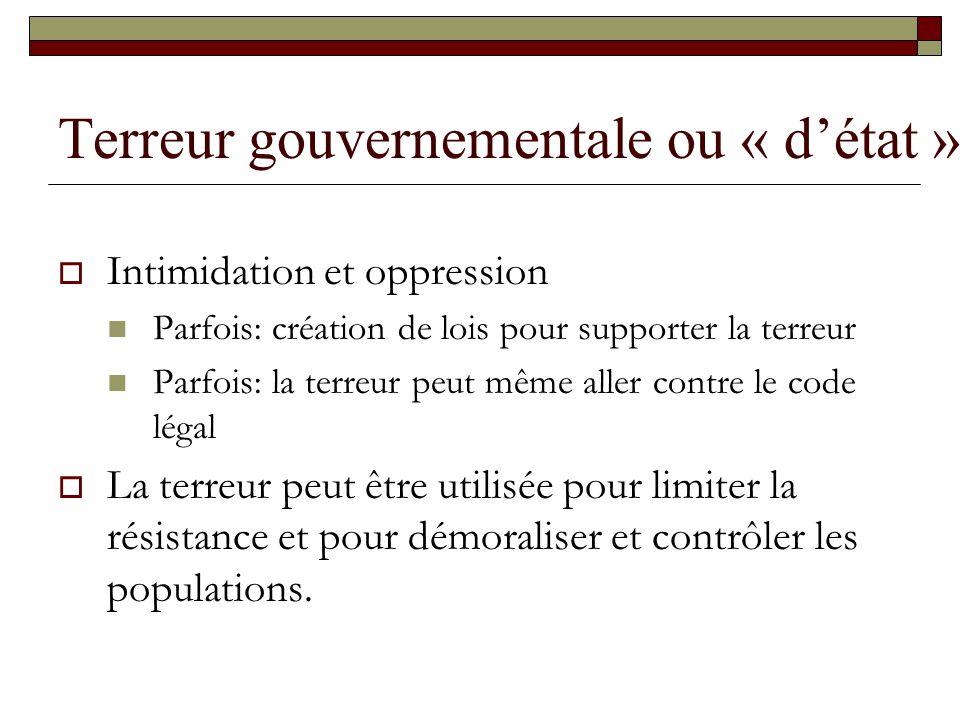 Terreur gouvernementale ou « détat » Intimidation et oppression Parfois: création de lois pour supporter la terreur Parfois: la terreur peut même alle