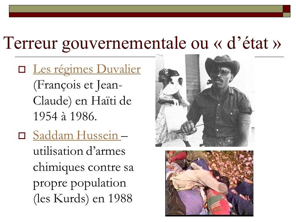 Terreur gouvernementale ou « détat » Les régimes Duvalier (François et Jean- Claude) en Haïti de 1954 à 1986. Les régimes Duvalier Saddam Hussein – ut