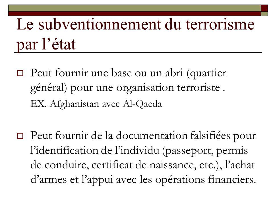 Le subventionnement du terrorisme par létat Peut fournir une base ou un abri (quartier général) pour une organisation terroriste. EX. Afghanistan avec