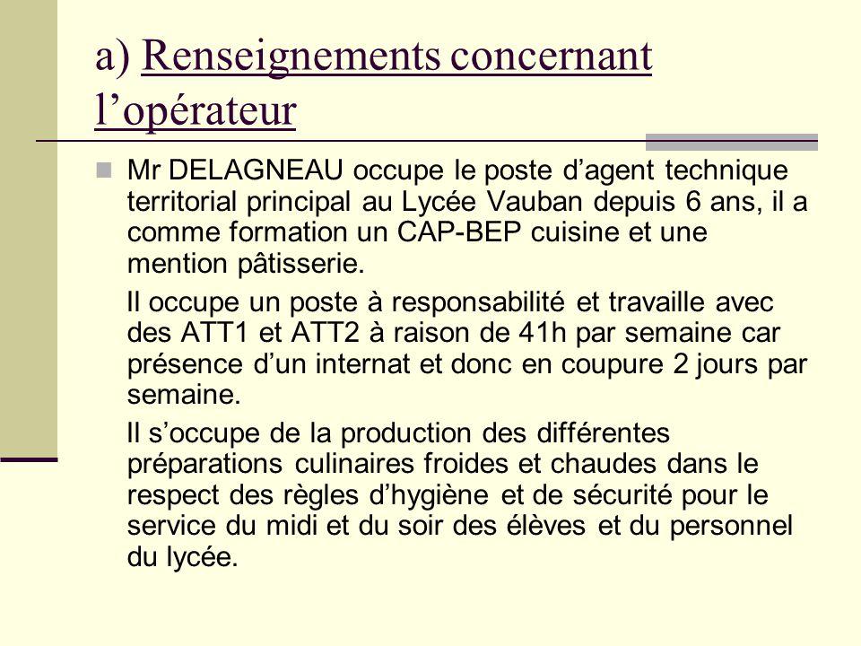a) Renseignements concernant lopérateur Mr DELAGNEAU occupe le poste dagent technique territorial principal au Lycée Vauban depuis 6 ans, il a comme f