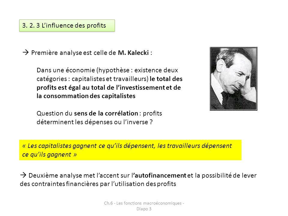 Ch.6 - Les fonctions macroéconomiques - Diapo 3 3. 2. 3 Linfluence des profits Première analyse est celle de M. Kalecki : Dans une économie (hypothèse