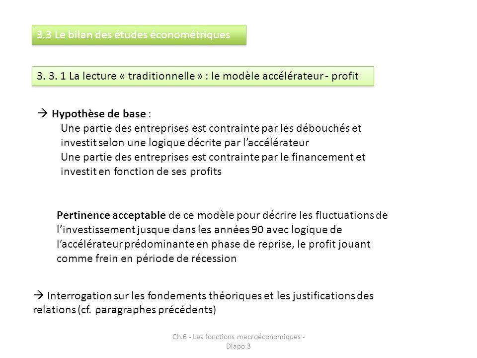 Ch.6 - Les fonctions macroéconomiques - Diapo 3 3.3 Le bilan des études économétriques 3. 3. 1 La lecture « traditionnelle » : le modèle accélérateur
