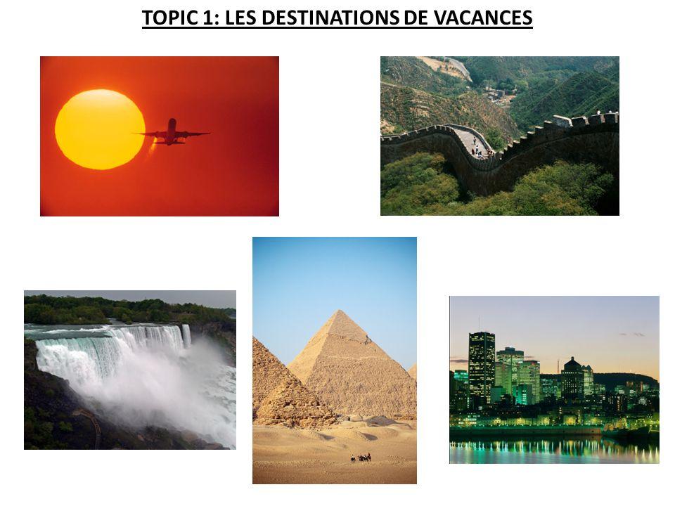 TOPIC 1: LES DESTINATIONS DE VACANCES