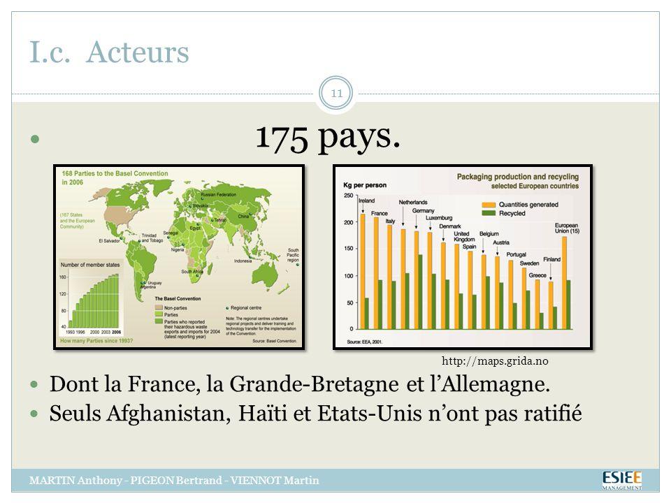 I.c. Acteurs MARTIN Anthony - PIGEON Bertrand - VIENNOT Martin 11 175 pays. http://maps.grida.no Dont la France, la Grande-Bretagne et lAllemagne. Seu