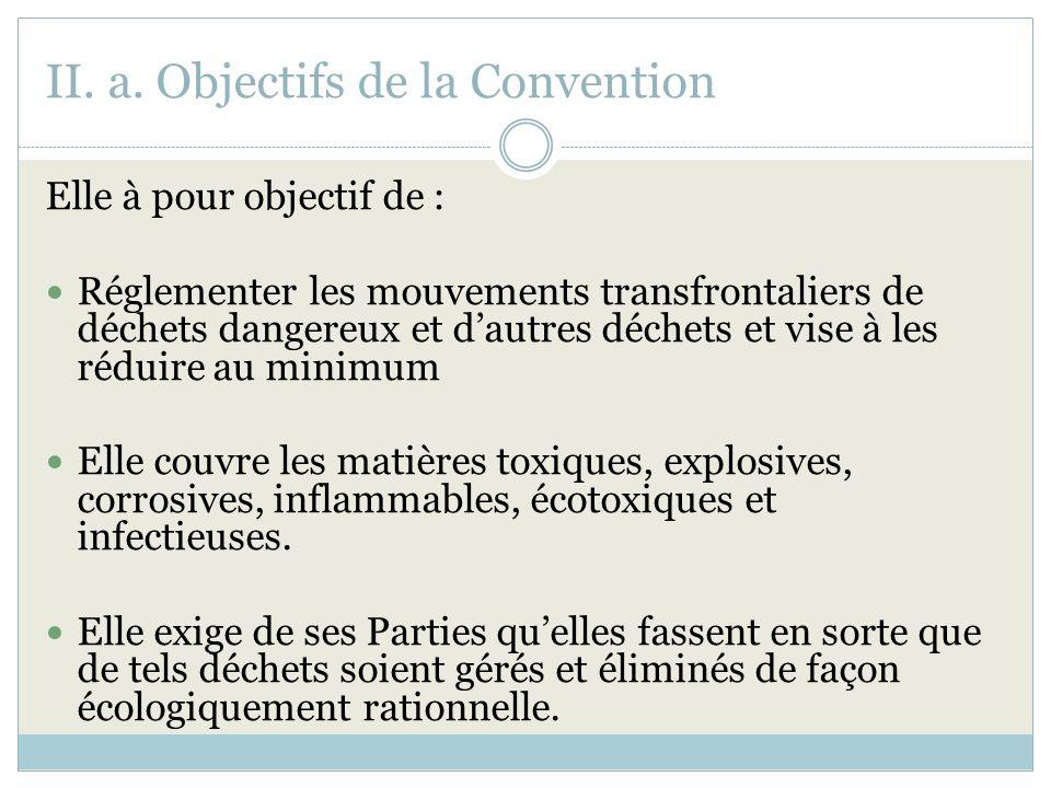 II. a. Objectifs de la Convention Elle à pour objectif de : Réglementer les mouvements transfrontaliers de déchets dangereux et dautres déchets et vis