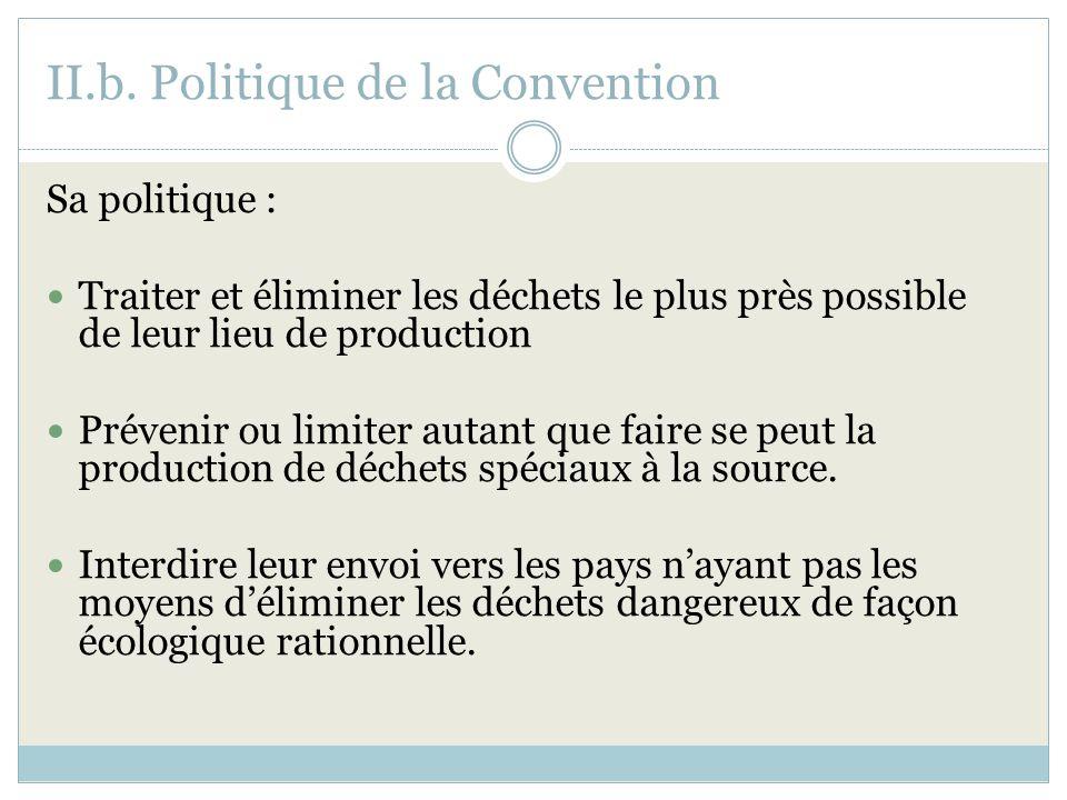 II.b. Politique de la Convention Sa politique : Traiter et éliminer les déchets le plus près possible de leur lieu de production Prévenir ou limiter a