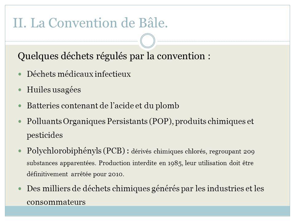 II. La Convention de Bâle. Quelques déchets régulés par la convention : Déchets médicaux infectieux Huiles usagées Batteries contenant de lacide et du
