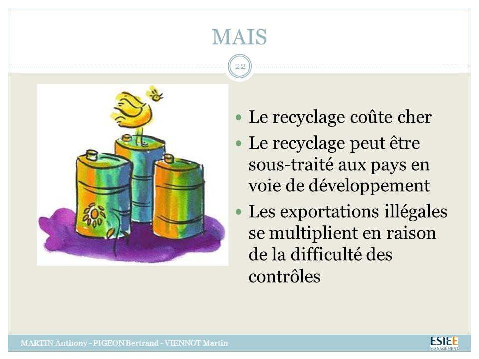 MAIS Le recyclage coûte cher Le recyclage peut être sous-traité aux pays en voie de développement Les exportations illégales se multiplient en raison de la difficulté des contrôles MARTIN Anthony - PIGEON Bertrand - VIENNOT Martin 22