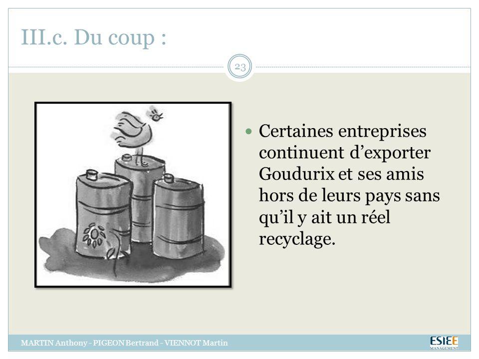 III.c. Du coup : Certaines entreprises continuent dexporter Goudurix et ses amis hors de leurs pays sans quil y ait un réel recyclage. MARTIN Anthony