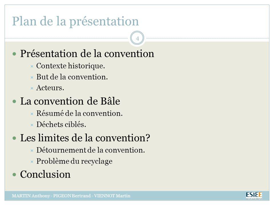 Plan de la présentation MARTIN Anthony - PIGEON Bertrand - VIENNOT Martin 4 Présentation de la convention Contexte historique.