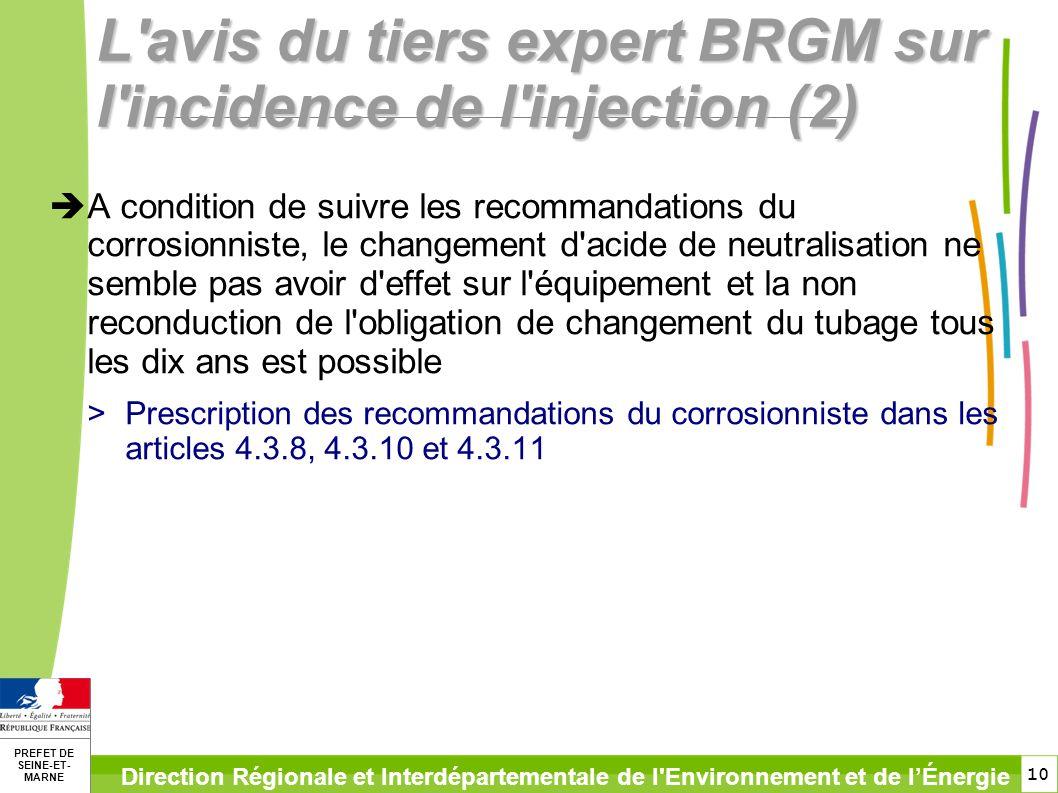 10 PREFET DE SEINE-ET- MARNE Direction Régionale et Interdépartementale de l'Environnement et de lÉnergie L'avis du tiers expert BRGM sur l'incidence
