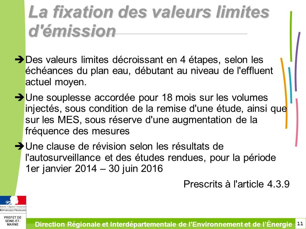 11 PREFET DE SEINE-ET- MARNE Direction Régionale et Interdépartementale de l'Environnement et de lÉnergie La fixation des valeurs limites d'émission D