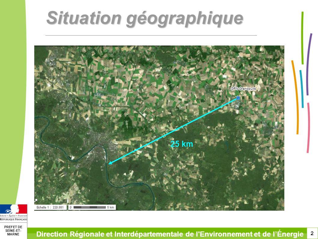 2 PREFET DE SEINE-ET- MARNE Direction Régionale et Interdépartementale de l Environnement et de lÉnergie Situation géographique 25 km