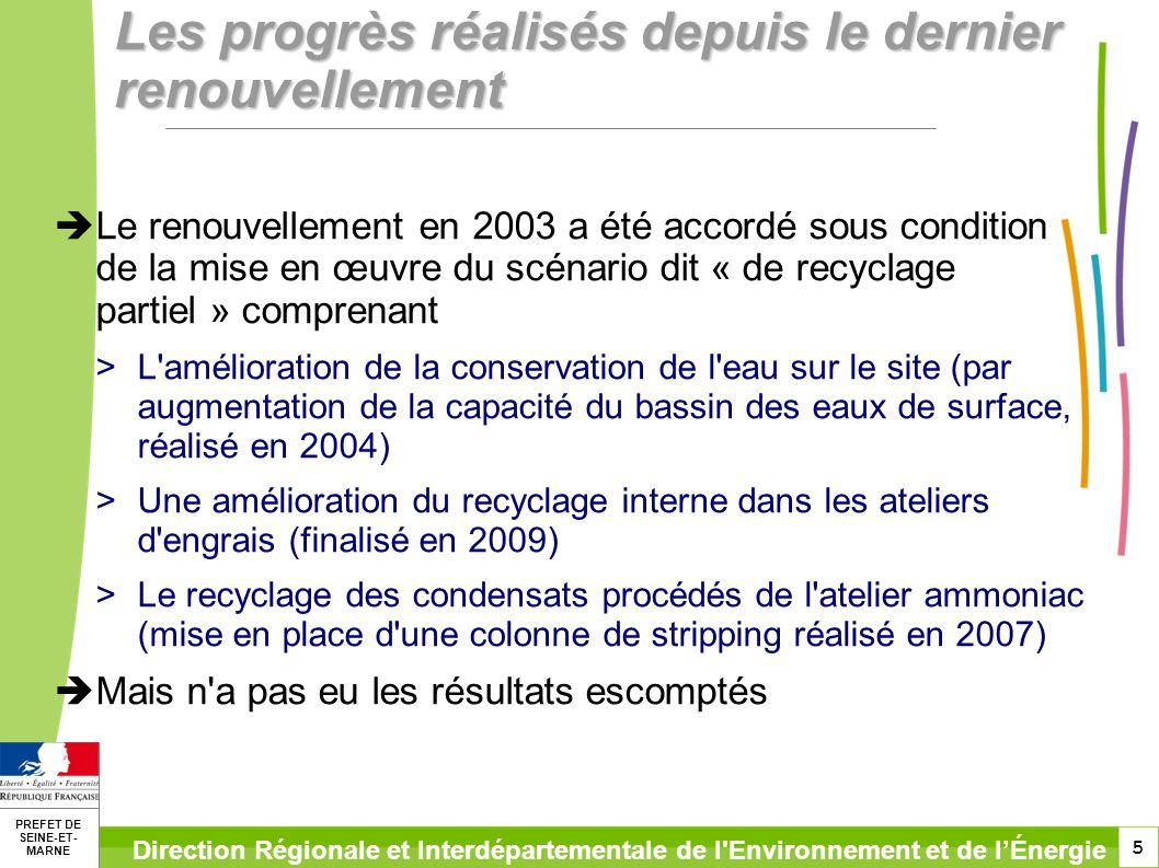 5 PREFET DE SEINE-ET- MARNE Direction Régionale et Interdépartementale de l Environnement et de lÉnergie Les progrès réalisés depuis le dernier renouvellement Le renouvellement en 2003 a été accordé sous condition de la mise en œuvre du scénario dit « de recyclage partiel » comprenant >L amélioration de la conservation de l eau sur le site (par augmentation de la capacité du bassin des eaux de surface, réalisé en 2004) >Une amélioration du recyclage interne dans les ateliers d engrais (finalisé en 2009) >Le recyclage des condensats procédés de l atelier ammoniac (mise en place d une colonne de stripping réalisé en 2007) Mais n a pas eu les résultats escomptés