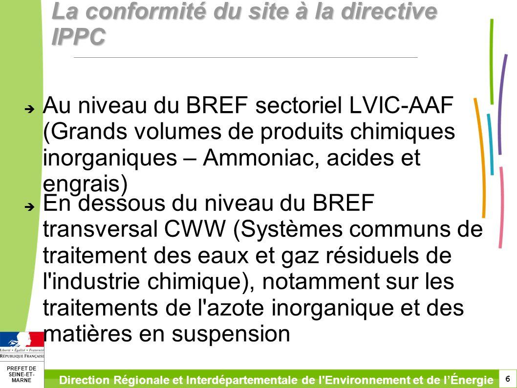 6 PREFET DE SEINE-ET- MARNE Direction Régionale et Interdépartementale de l'Environnement et de lÉnergie La conformité du site à la directive IPPC Au