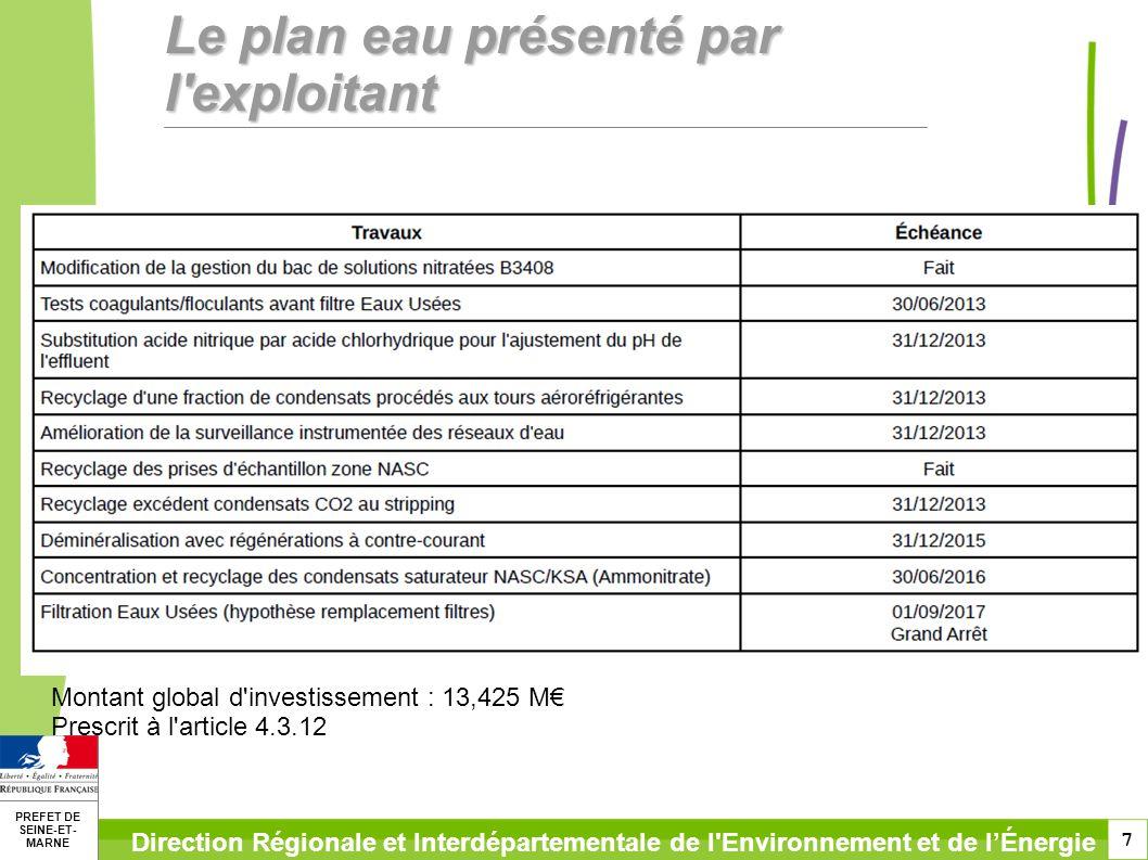 7 PREFET DE SEINE-ET- MARNE Direction Régionale et Interdépartementale de l Environnement et de lÉnergie Le plan eau présenté par l exploitant Montant global d investissement : 13,425 M Prescrit à l article 4.3.12