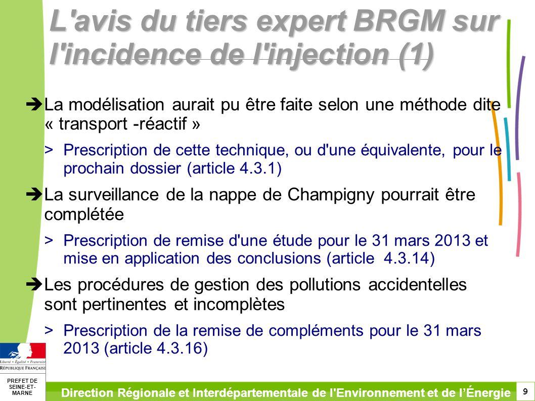 9 PREFET DE SEINE-ET- MARNE Direction Régionale et Interdépartementale de l'Environnement et de lÉnergie L'avis du tiers expert BRGM sur l'incidence d