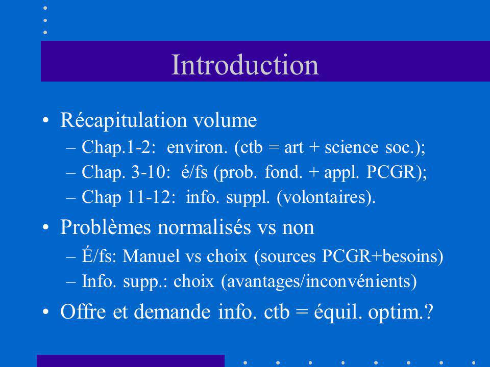 Introduction Récapitulation volume –Chap.1-2: environ. (ctb = art + science soc.); –Chap. 3-10: é/fs (prob. fond. + appl. PCGR); –Chap 11-12: info. su